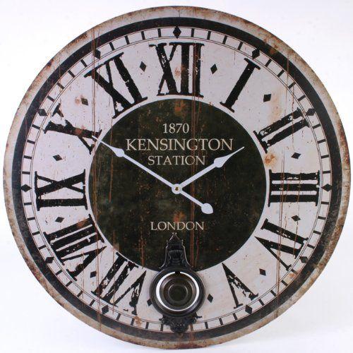 very large rustic kensington station design wall clock 58cm