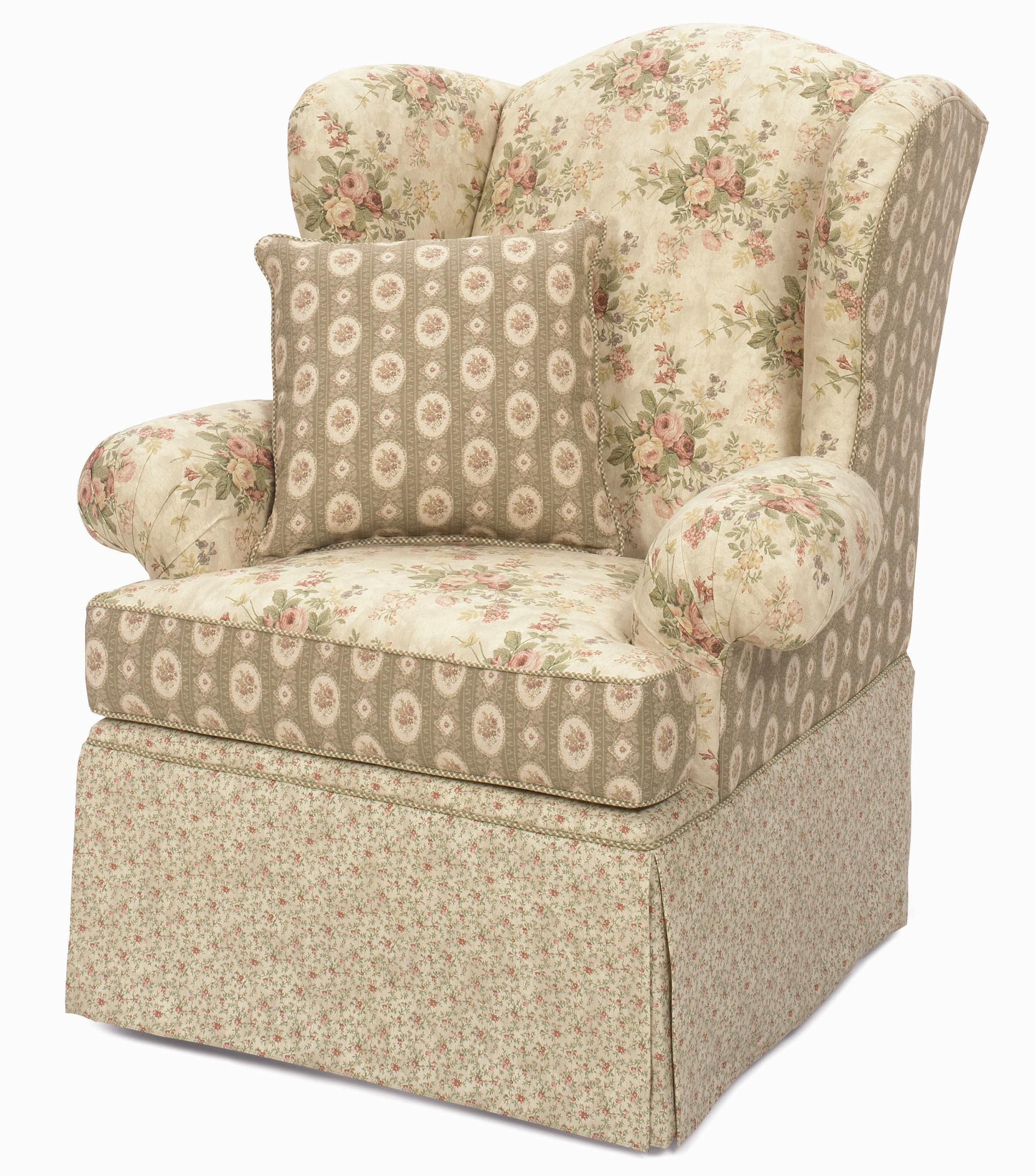 Craftmaster Accent Chairs Upholstered Wing Back Chair with Skirted