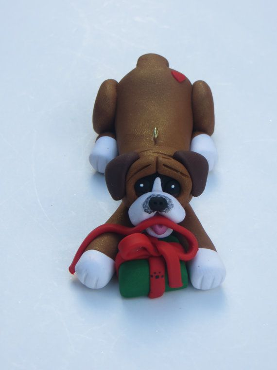 Boxer Dog Christmas Ornament Polymer Clay by HeartOfClayGirl - Boxer Dog Christmas Ornament Polymer Clay Figurine Handmade Gifts