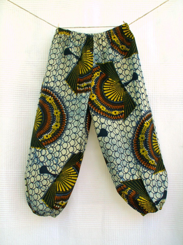 Les Eventails , Sarouel africain pour enfant en coton wax à imprimé  éventails, pantalon africain enfant unisexe, pantalon large wax enfant de  la boutique