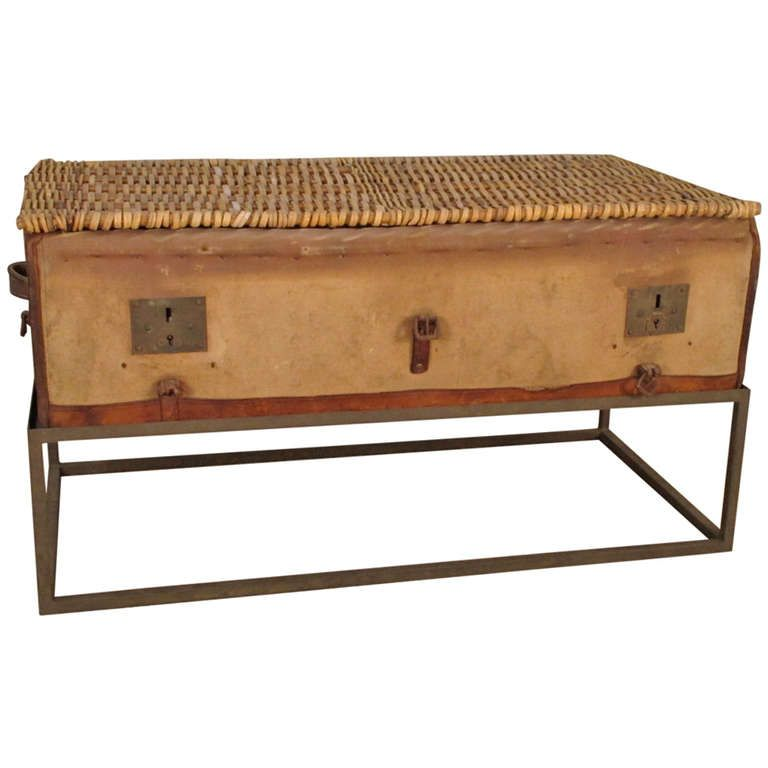 Antique Canvas and Wicker Trunk with Iron Stand