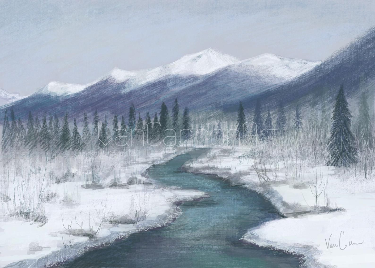 Snowy Mountain Downloadable Wall Art Mountain Digital Print Homedecor Printables Landscape Alaska Art Landscape Prints Wall Art