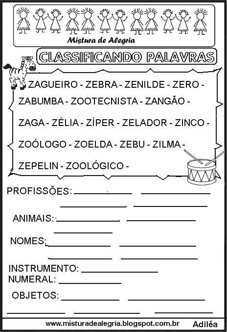 Sequ C3 Aancia Classificando Palavras Letra Z Imprimir Colorir Jpg