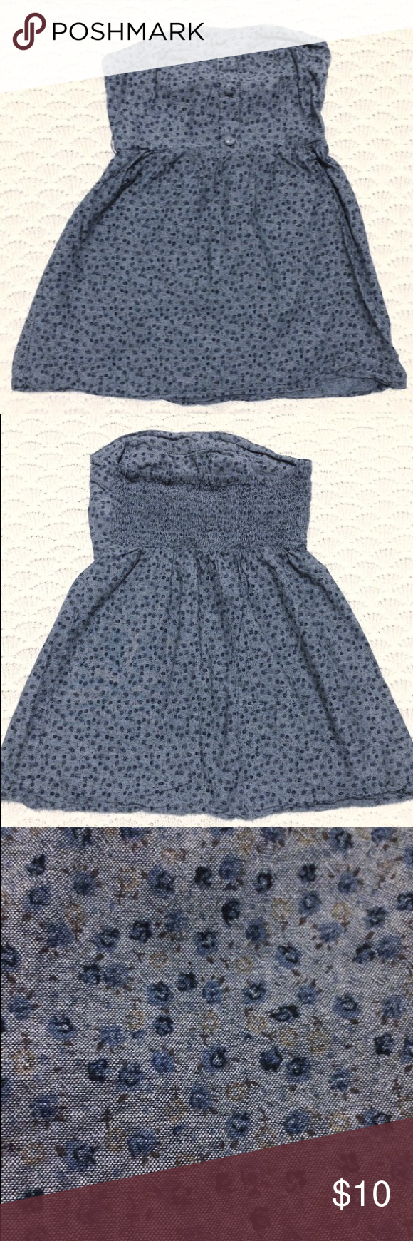 Blue + Floral print dress Sweet little strapless dress in blue floral print. Size Medium and in like-new condition! Pairs well with a belt and boots! Dresses Mini