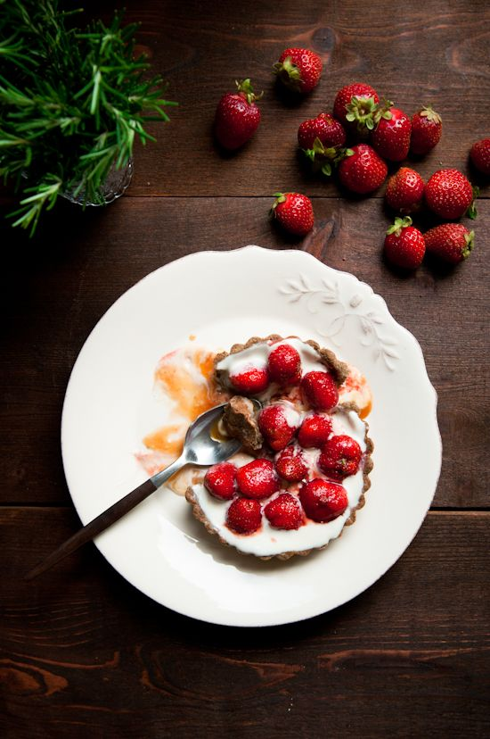 Strawberry and rosemary-caramel buckwheat tart from Desserts for Breakfast