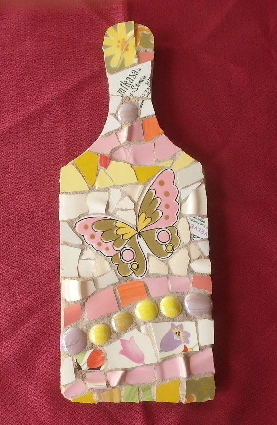 Butterfly Springtime  Pink Mosaic Cutting Board by DumbLadyMosaics