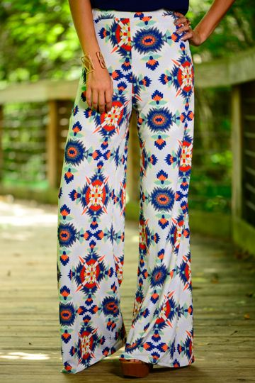 These wide leg beauties are the best looking aztec print ever! The colorful pattern on the thin white material is so chic! These are perfect for the summer!