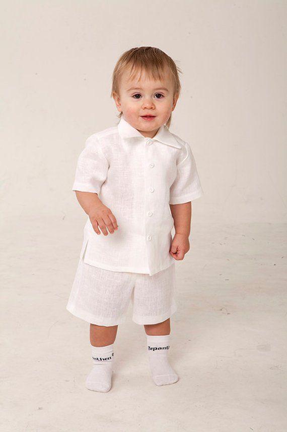 294612320 Baby boy baptism outfits Christening white linen outfits Boy 1st birthday  shirt shorts Baby boy wedd