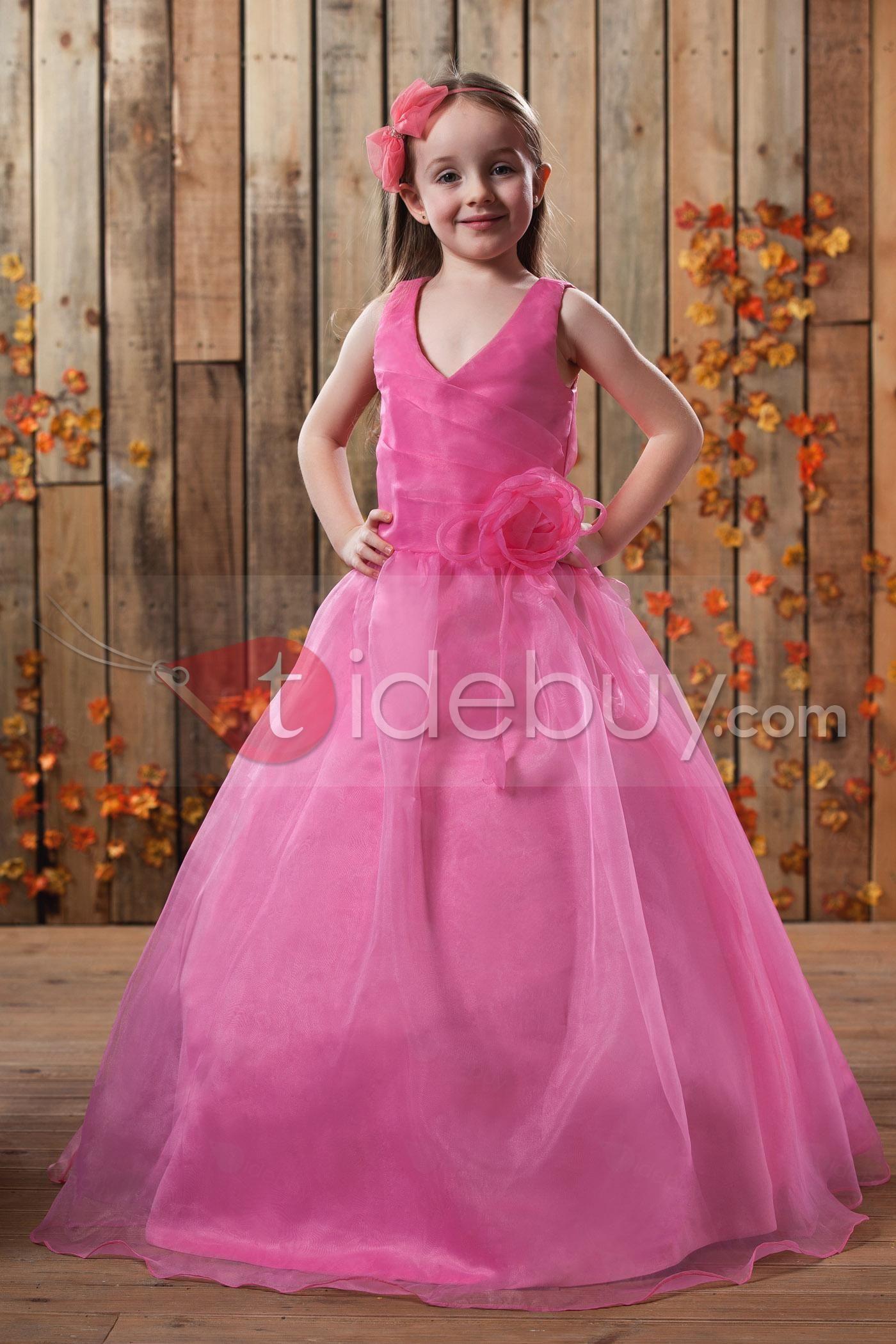 Lindo Vestido de Damita Ball Gown Largo al Piso con Cuello en V ...