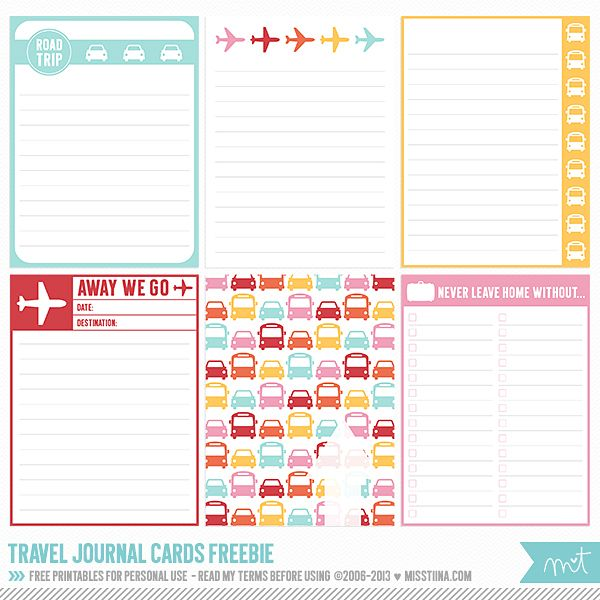Free Printable Travel Journal Cards from MissTiina {Blog - free journal templates