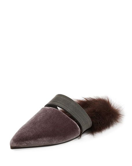e89379610f1b0 Fur-Lined Velvet Mule with Monili Strap | FALL 2017 FINDS/STYLE ...