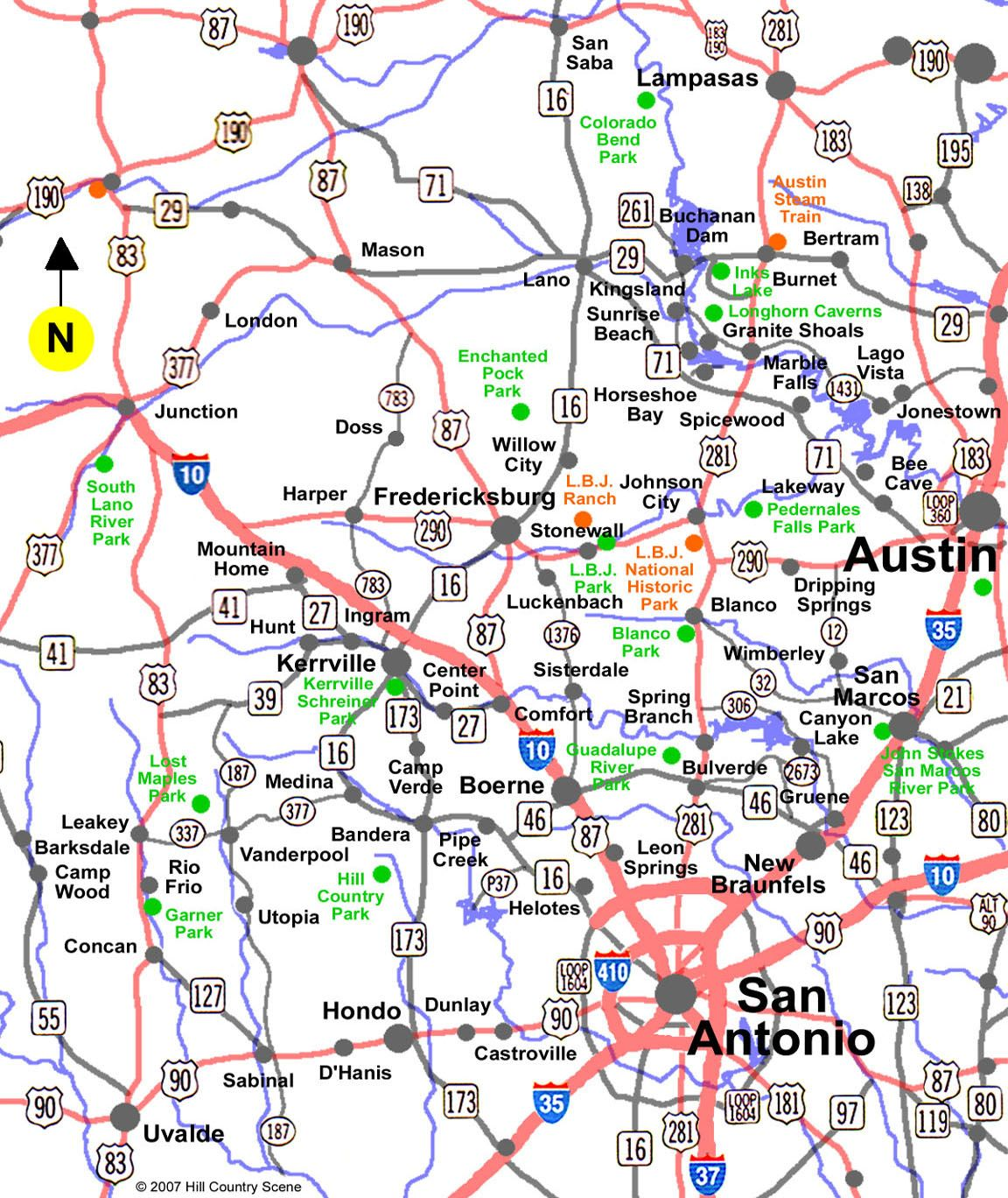 texas hill country map   ... map showing towns and placesin ...