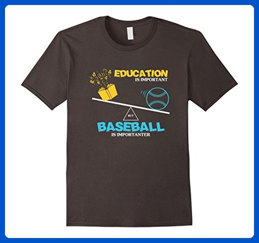 Mens Education Is Important But  Baseball Is Important Shirts Medium Asphalt - Sports shirts (*Amazon Partner-Link)