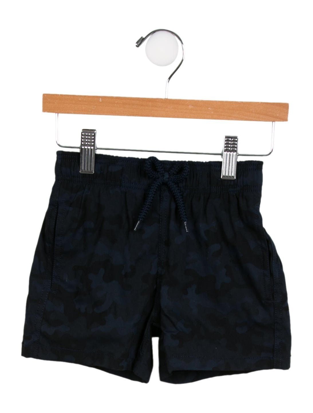 62b659275b Boys' black and multicolor Vilebrequin Kids camouflage swim trunks with  elasticized waist, dual seam pockets at sides, single flap pocket at back  and draw
