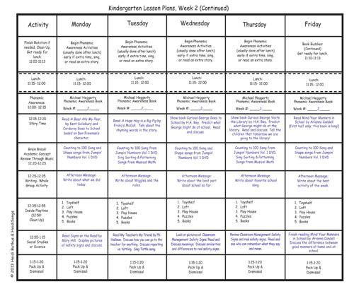 Kindergarten Lesson Plans Week 2! Kindergarten, Kindergarten - kindergarten lesson plan