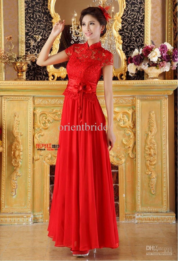 Wholesale bridesmaid dresses buy pageant red lace high neckline