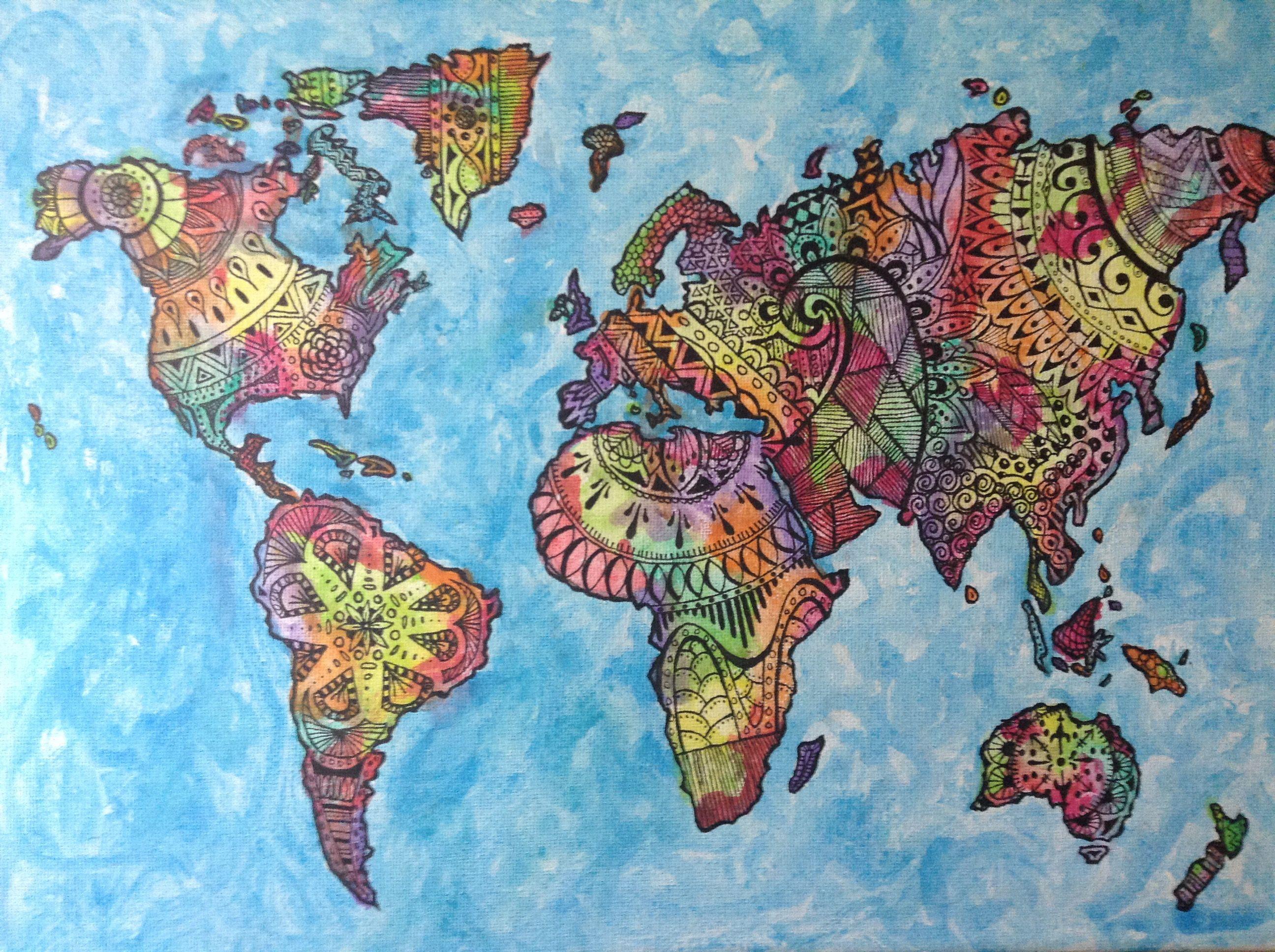 Canvas doodle world map watercolor sharpie zentangle diy canvas doodle world map watercolor sharpie zentangle diy gumiabroncs Images