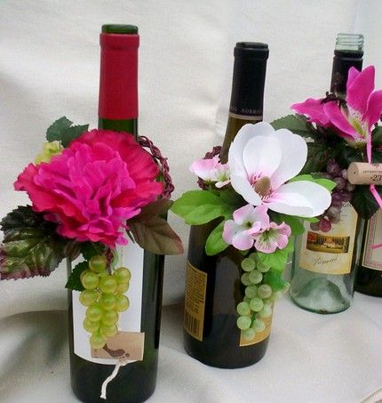 Wine Bottle Toppers Vineyard Wedding Flowers Alternative Centerpieces