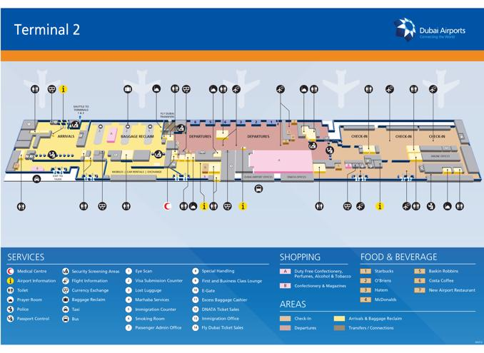 airport terminal 2 dubai location map Dubai Airport Map Dxb Printable Terminal Maps Shops Food airport terminal 2 dubai location map
