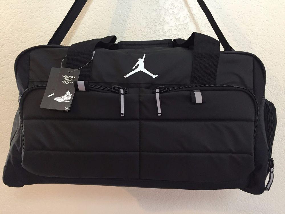 JORDAN Men Gym Bag Luggage Jumpman Black Wet Dry Shoe Pocket Polyester.   Jordan 885f992fa9170