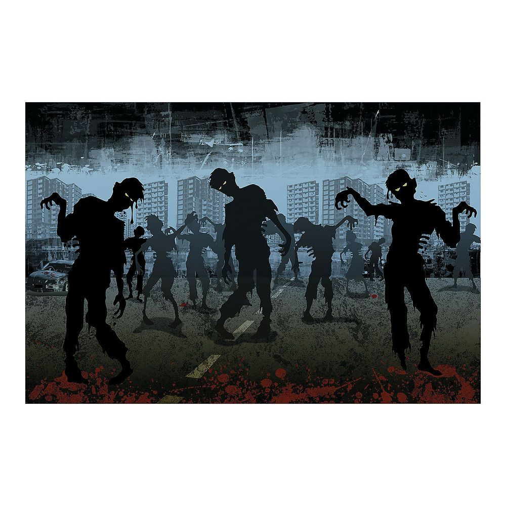 3pc set halloween party decoration prop zombie walking dead backdrop
