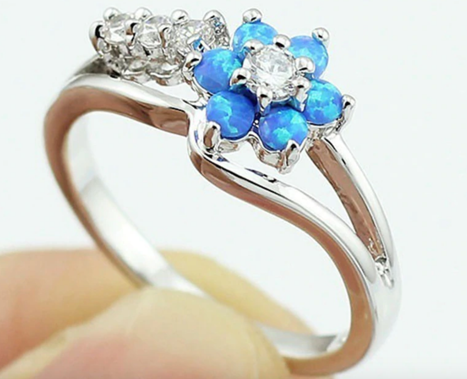 Sterling Silver Blue Fire Opal Flower Ring Made With Swarovski Crystals Blue Ring Ideas Of Blue Ring Bluering Ring Blue Rings Swarovski Crystals Fire Opal