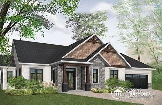 Providence 3 Maison Champetre Rustique Plafond 9 3 Chambres Garage Double Plancher Aire O Craftsman House Plans Ranch Style House Plans Rustic House Plans