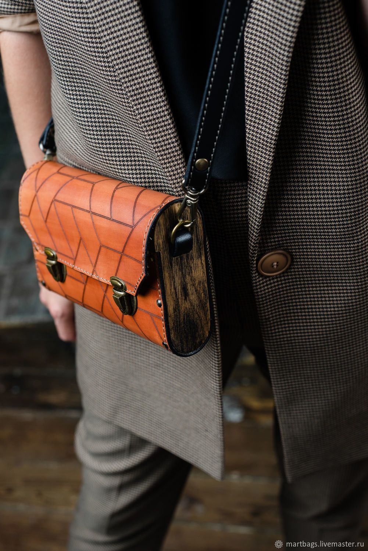 c8f35256aeaf оранжевая сумка из кожи и дерева клатч деревянный кожаный коричневый  мужской женский купить на заказ дизайнерская