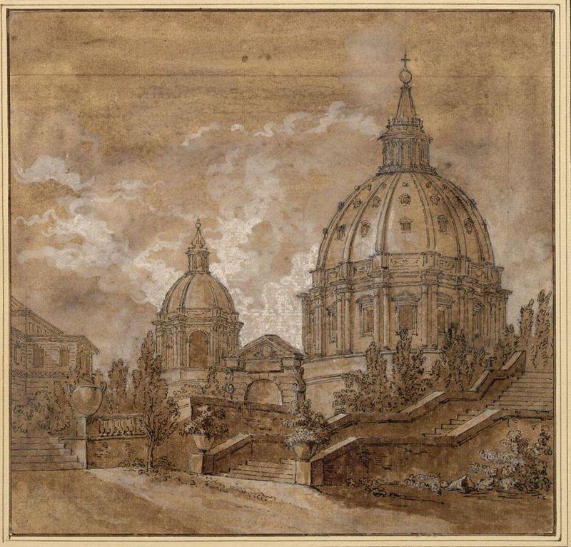 Jean-Baptiste Marie Pierre  (Paris 1714 - 1789 Paris) Blick auf die Kuppel von St. Peter in Rom ca.1735 - 1740