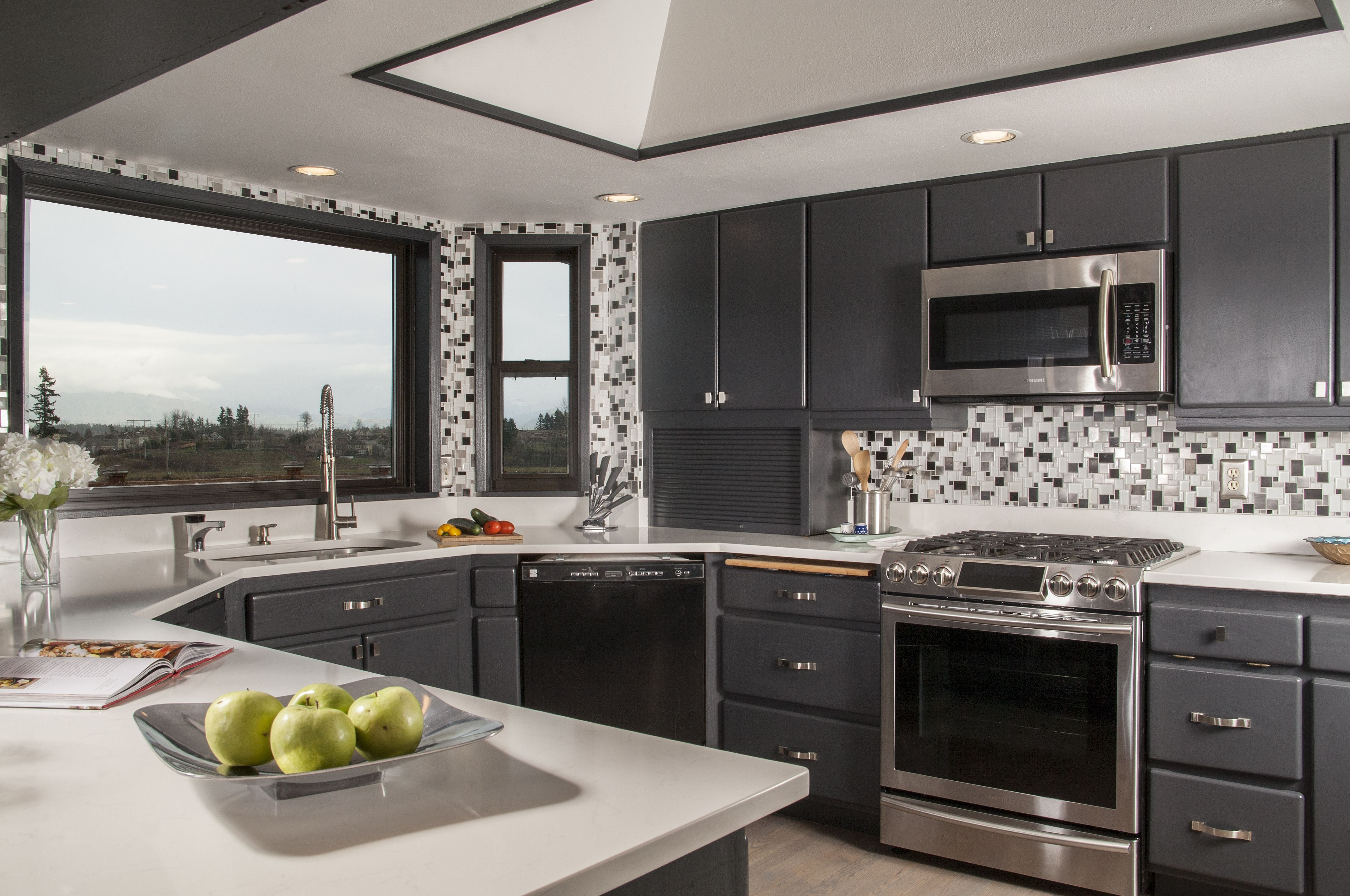 Gray Kitchen Cabinetry, Metallic Mosaic Backsplash, Refreshed Cabinets  Corinne
