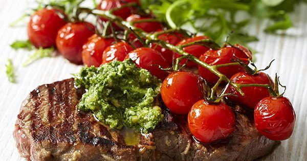 Ditch the jar and make your own pesto for this low calorie, gluten free main. This sizzling steak and tangy tomato dish takes just 20 minutes to make