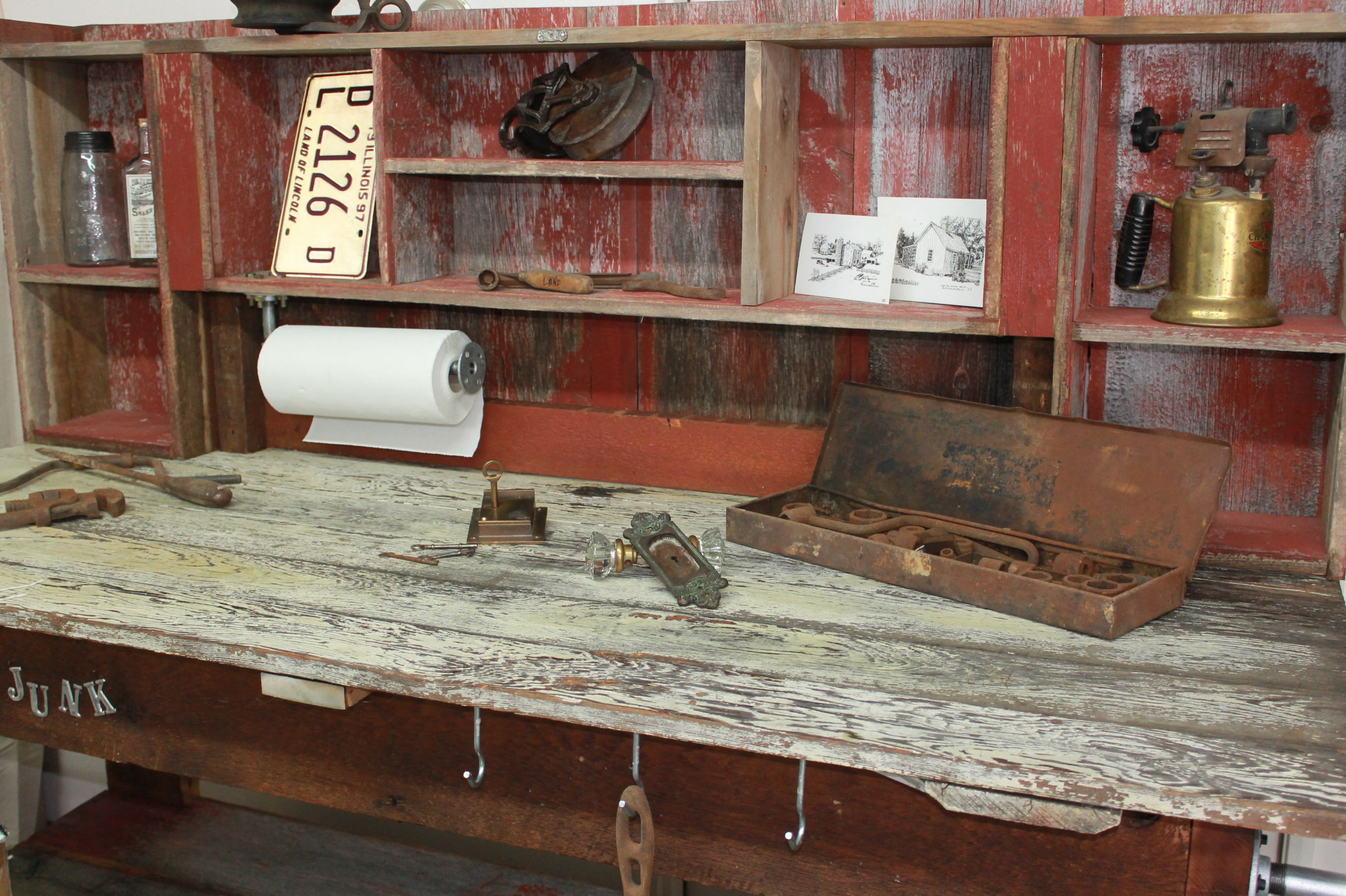 Work Bench Made From Salvaged Barn Wood Barn Door And Timber From A 100 Year Old Home Man Style Could Also Be A Barn Wood Repurposed Items Potting Bench