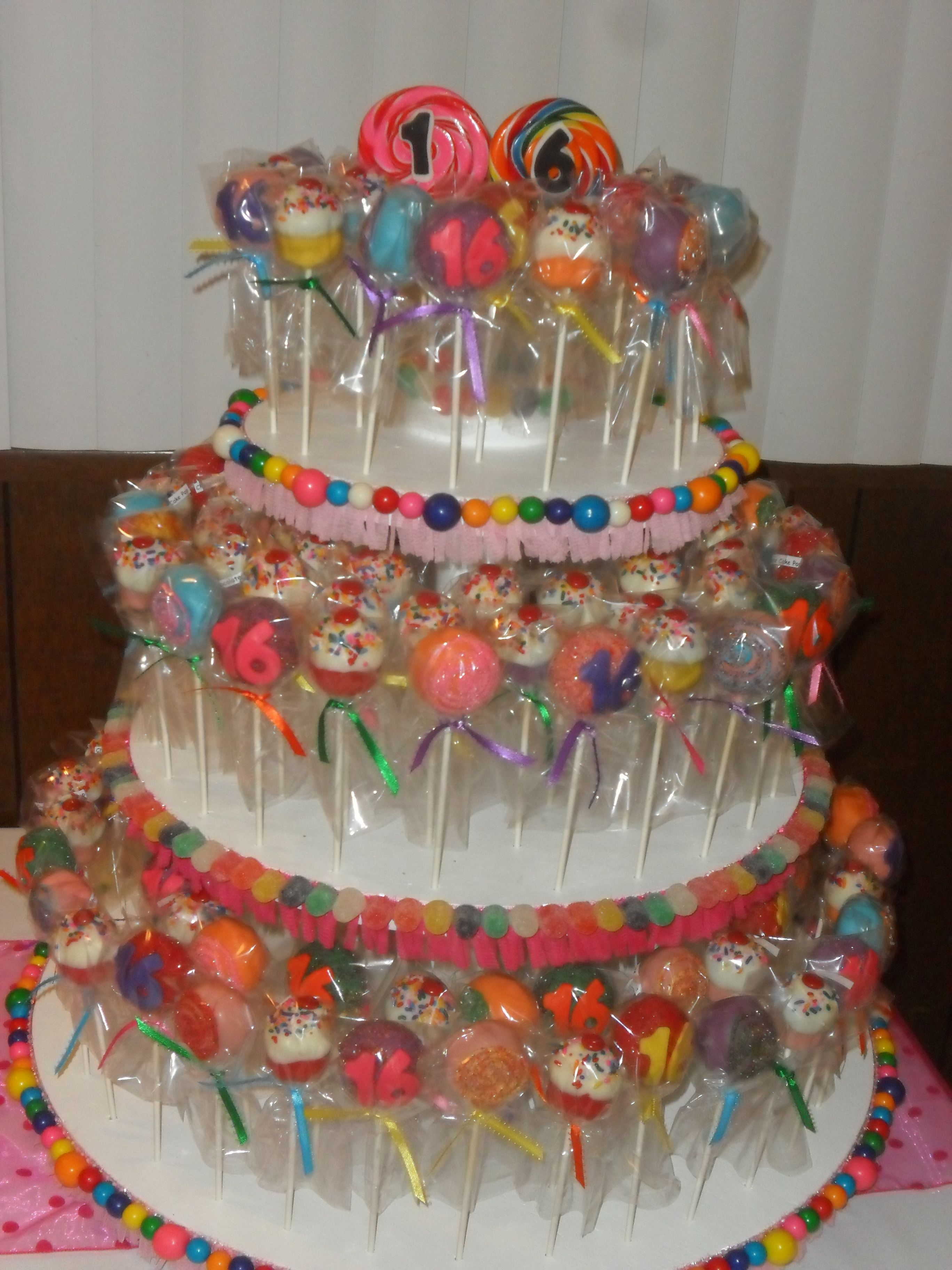 Cake pops Sweet 16 Candy Land theme | My baby's Sweet 16 ...