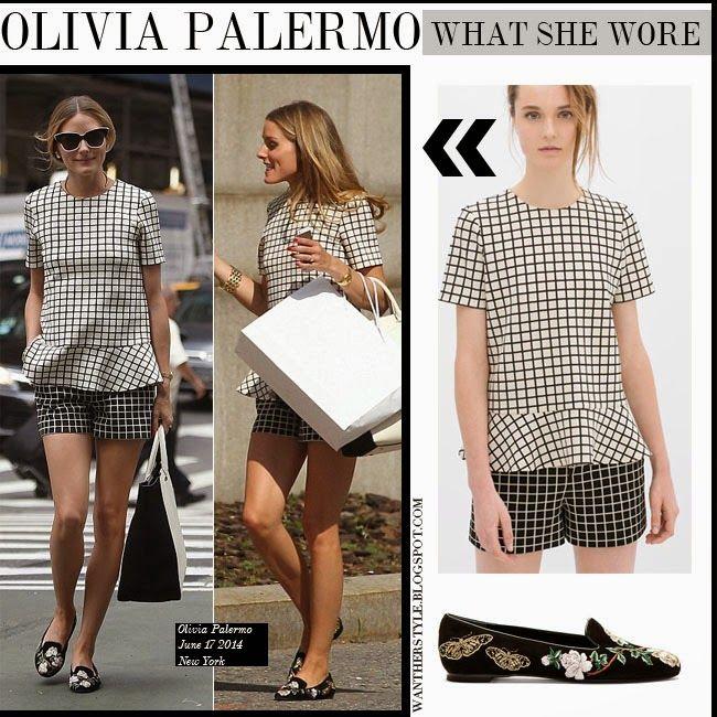 916e1378eb6 Olivia Palermo in white checked print top