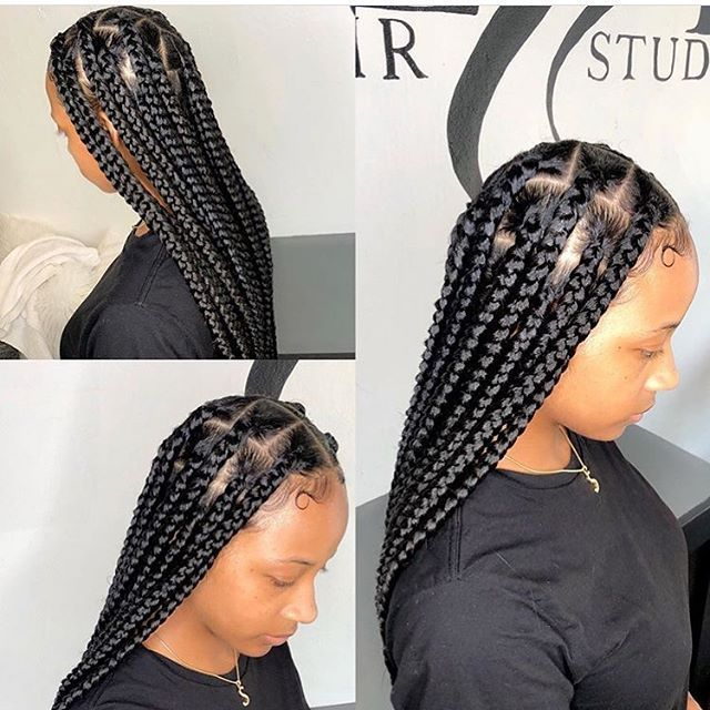 Jumbo Knotless Box Braids Jumbo Knotless Braids Styles Jumbo Knotless Box B Box Braids Styling Braids With Curls Braided Hairstyles Easy