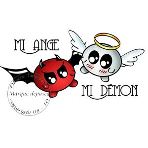 Tampon mi ange mi ange mi d mon - Dessin ange demon ...