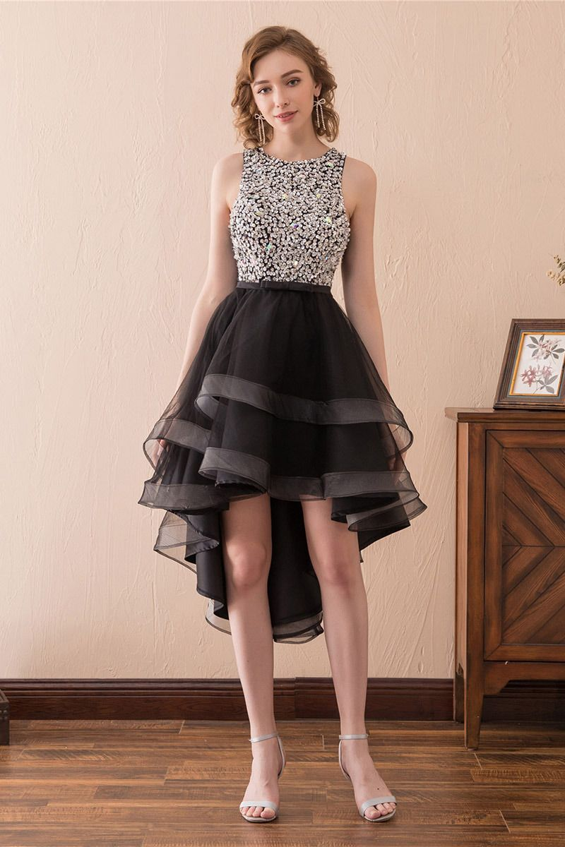 high low black prom dress with sparkly bodice for teens ch