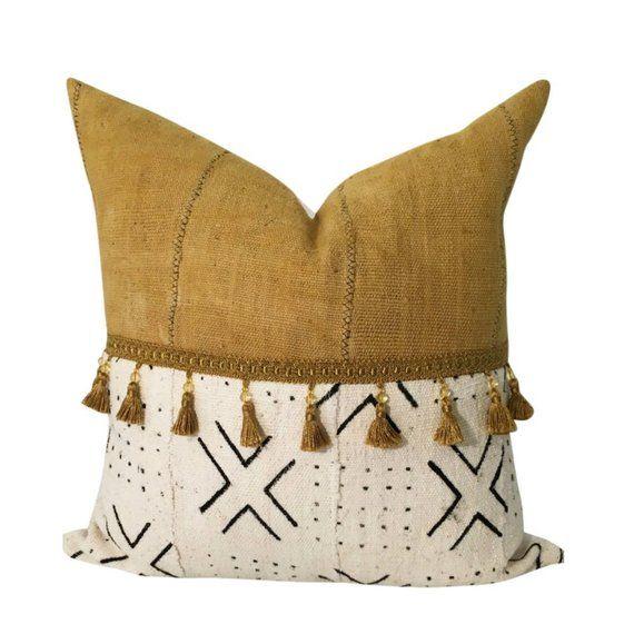 Golden gelb Kissen, afrikanische Schlammtuch Kissen mit Quasten, Boho werfen Kissen, afrikanischen Druck Wohnkultur, Housewarminggeschenk für neues Zuhause