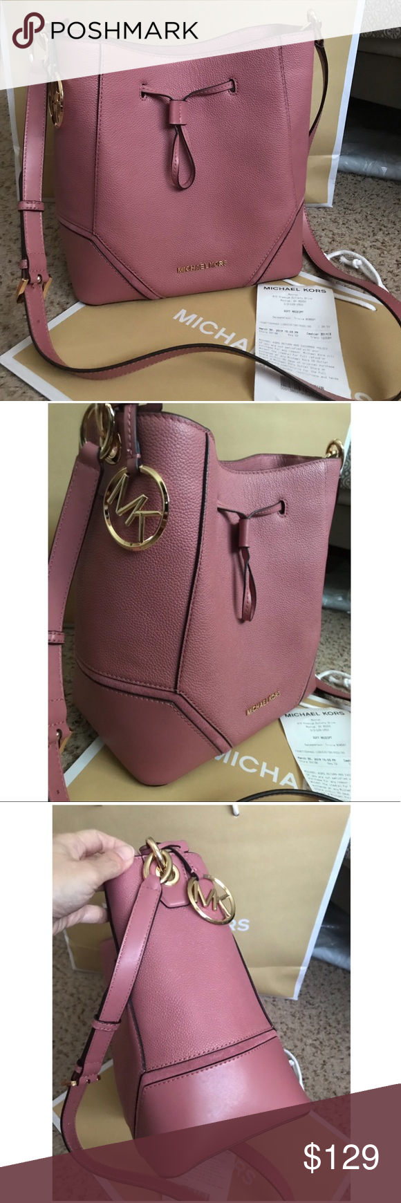 98acb9709dfb Michael Kors Nicole Large Bucket crossbody in Rose Michael Kors Nicole Large  Bucket Bag Rose With Gold Hardware Pebble Leather in Rose · Measurement: H  9