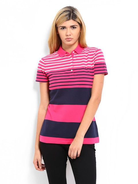Buy Tommy Hilfiger Women Pink Barnard Striped Polo T Shirt ...