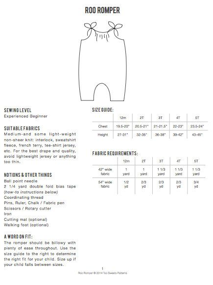 Roo Romper / PDF sewing pattern / Children\'s sizes 12 | ropa de ...