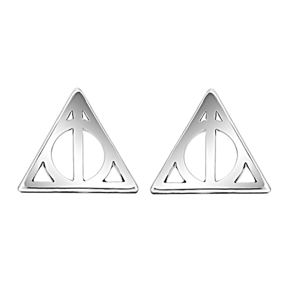 f0e0a80ce 14k White Gold Over 925 Silver Harry Potter Deathly Hallows Stud Earrings  Pair #Stud #dailywear #diamond #wedding #engagement #christmasgift  #giftforlove ...