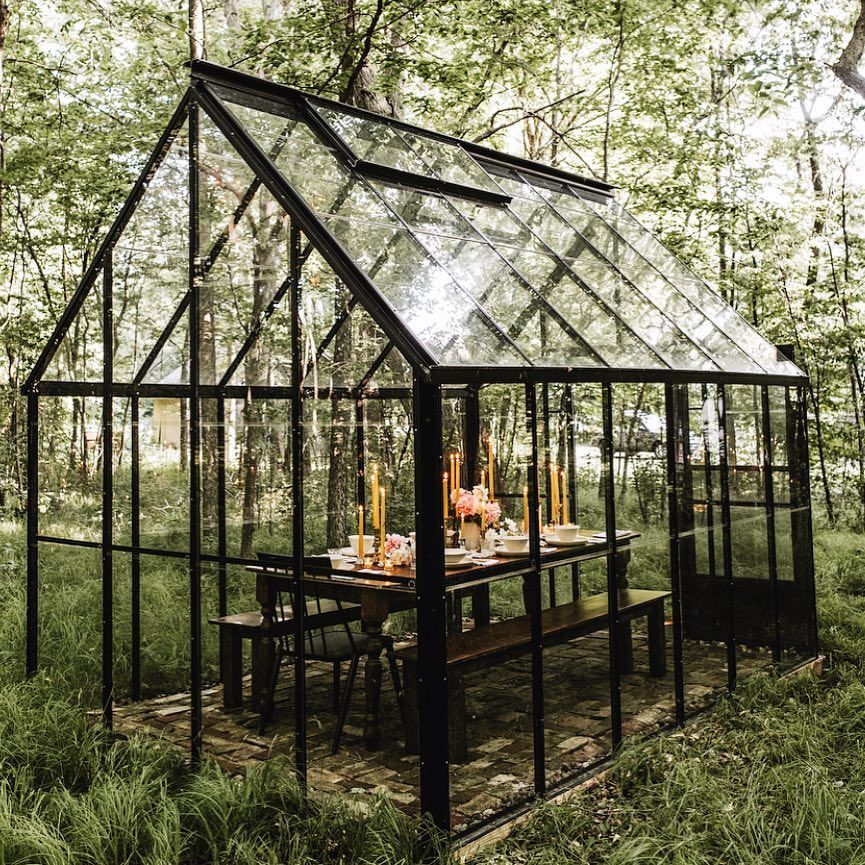 Forest Dinner Party In A Glass House Anyone Yes Please Foxmeetsbear Glass House Garden Glass House Greenhouse