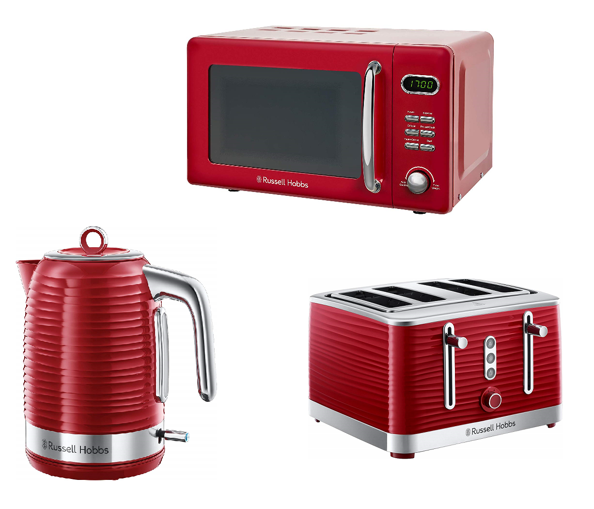 Coffee and Sugar Canisters Tea Red Russell Hobbs Microwave Kettle Toaster Set