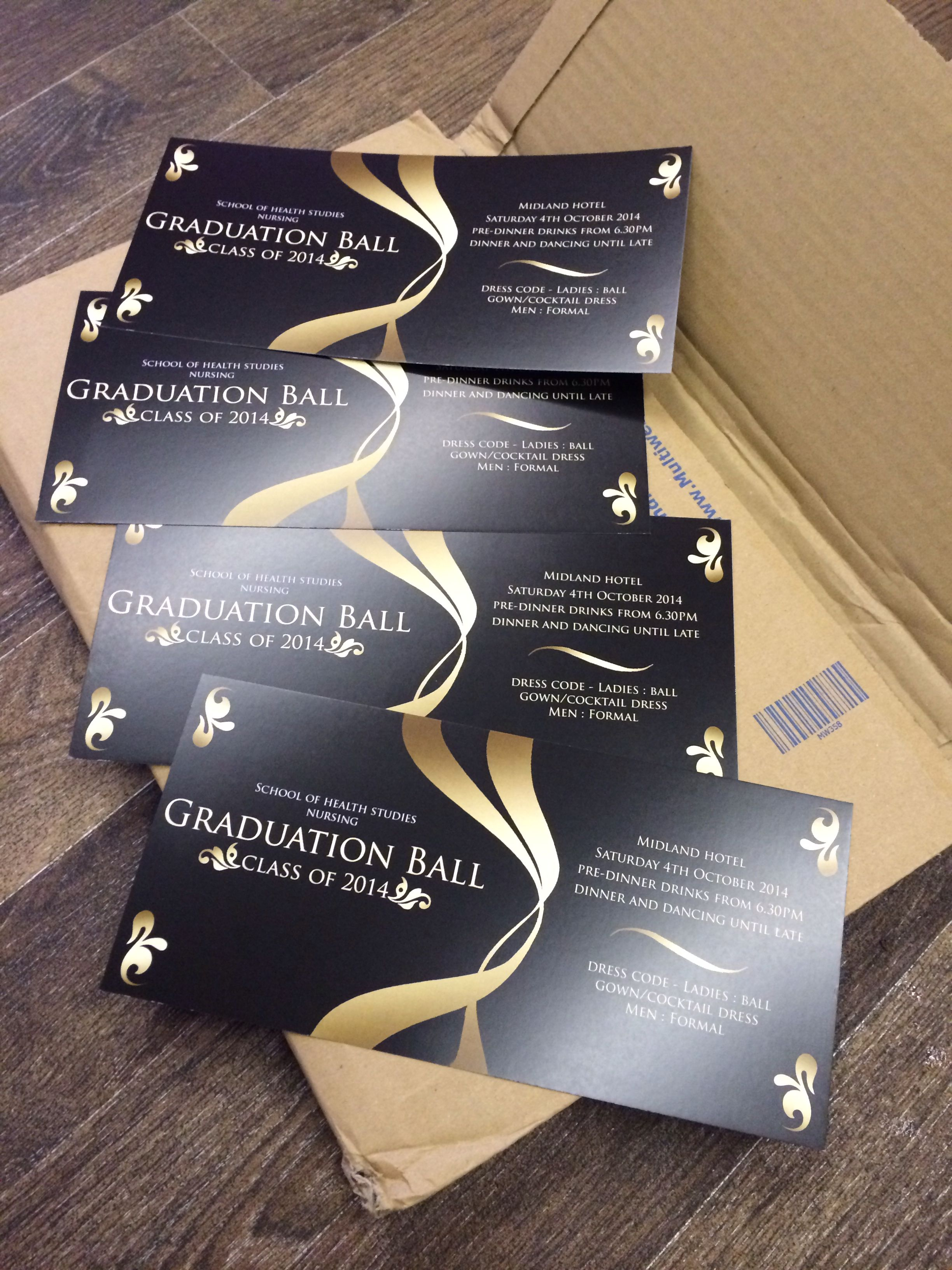black and gold graduation ball tickets