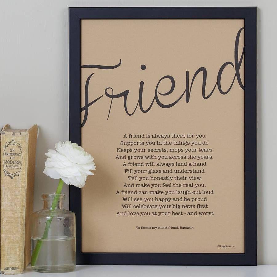 My Friend Poem Print Vintage Style Wedding Quotes To A Friend Friendship Poems Friend Poems