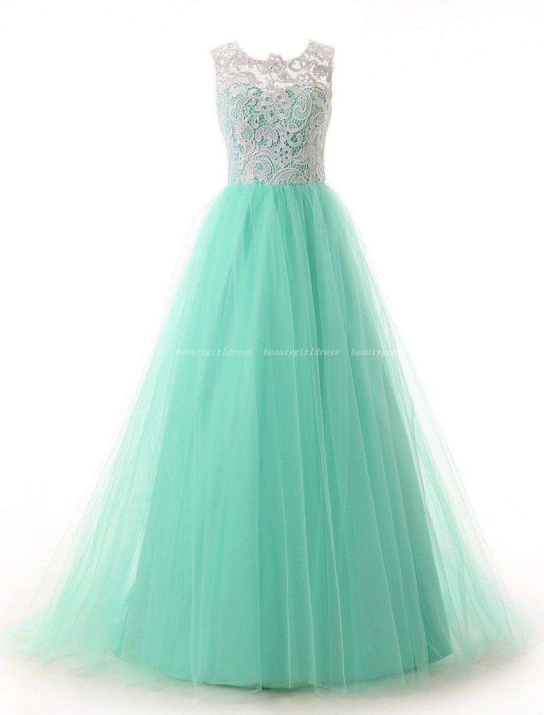 Mint green long dress  Mint Green Prom DressLong Evening DressTulle Prom DressesFormal