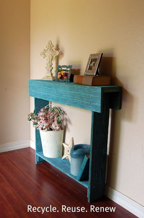 34x7x34 Console Table Teal Blue Cedar Wood Skinny Wall Table Thin