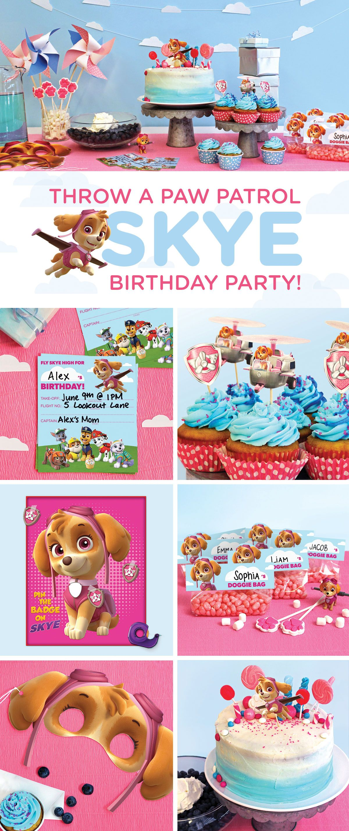 Planning a Skye PAW Patrol birthday party for your preschooler? This simple, step-by-step guide will transform your home into a cloud-, helicopter-, and pink-and-blue-filled wonderland! Make your child's wishes come true with the PAW Patrol birthday party they've always dreamed of with our kids party planning tips, free printable party supplies, recipes, party games, and more.