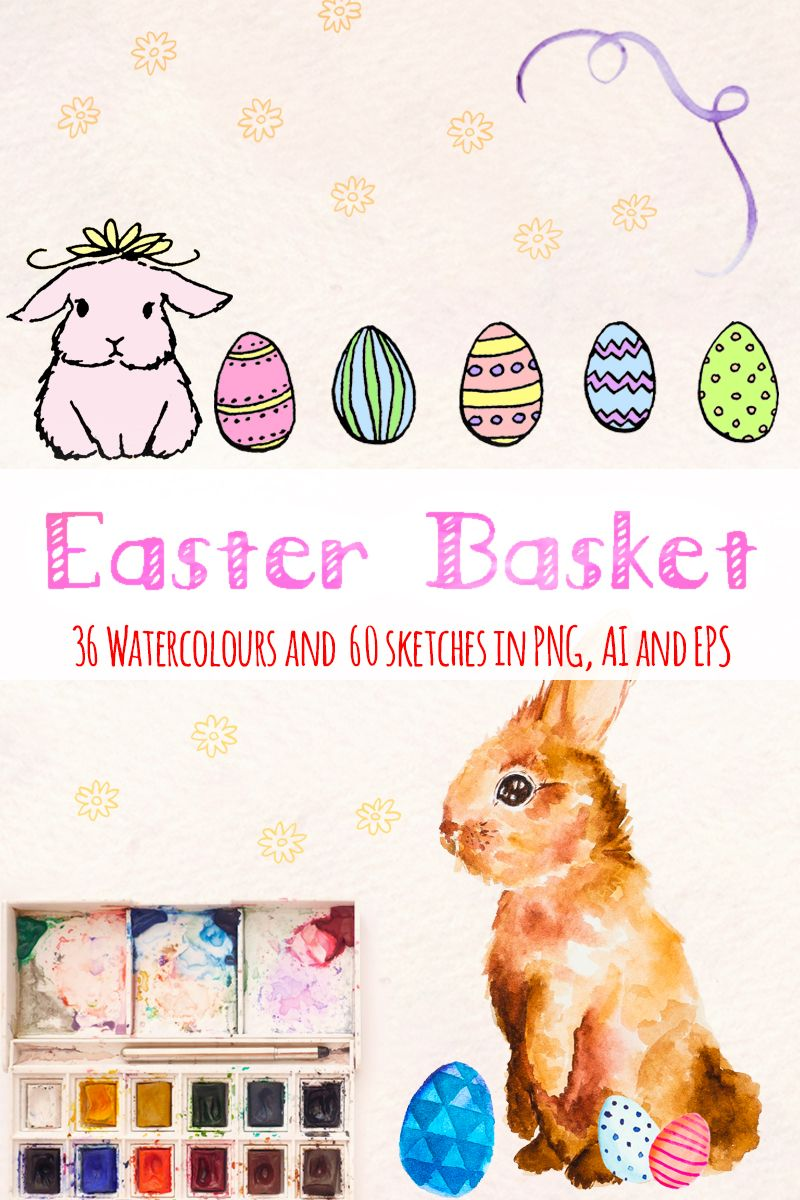 96 Easter Bunny and Egg Illustration, Ad Easter Bunny